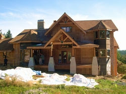 D Log Timber home under construction